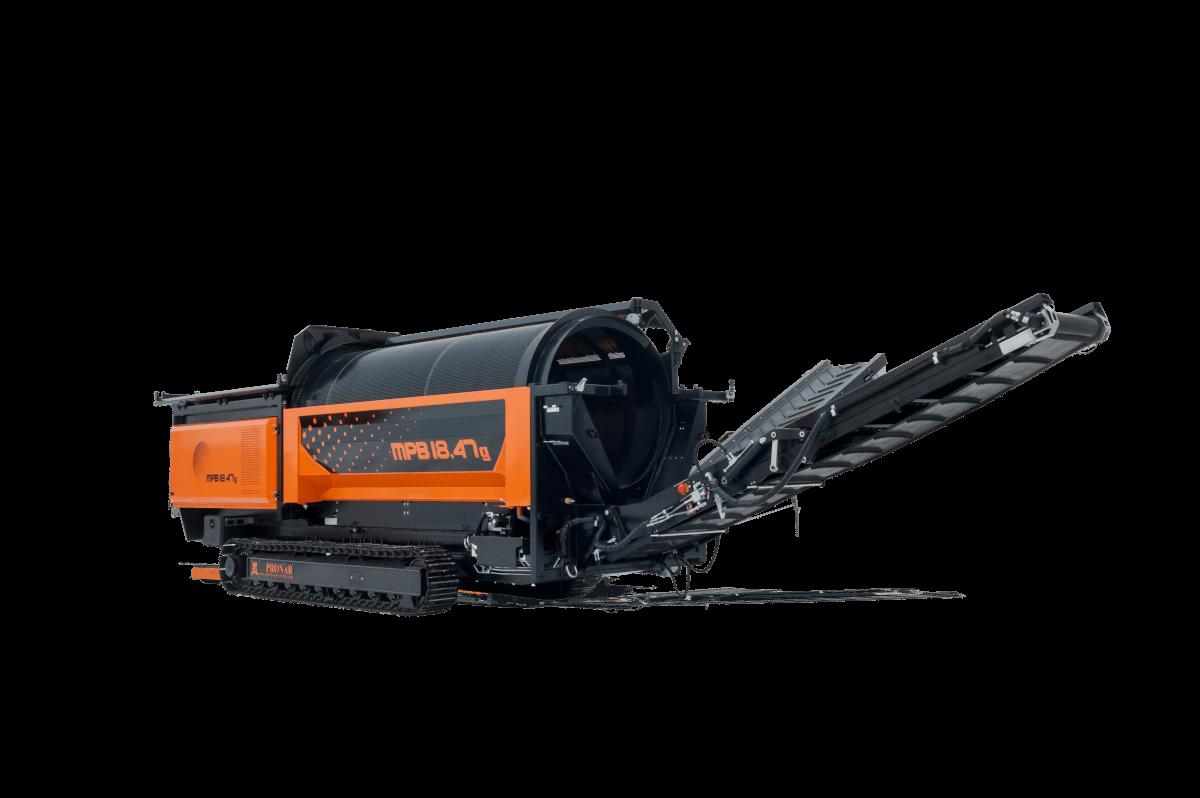 Cribles mobiles Pronar robuste et dotés d'un châssis homologué sur roue ou sur chenilles. Machine pour traitement de tous types de matériau (terre, agrégat, composts, déchets municipaux, biomasse)