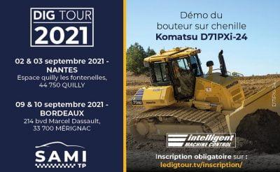 SAMI TP est présent au DIG TOUR de QUILLY en Loire-Atlantique pour des démonstrations et des essais du bouteur sur chenilles D71PXi et de la chargeuse sur pneus WA475